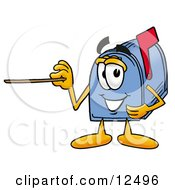 Blue Postal Mailbox Cartoon Character Holding A Pointer Stick