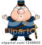 Clipart Of A Careless Shrugging Chubby Civil War Union Soldier Man Royalty Free Vector Illustration