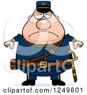 Clipart Of A Depressed Chubby Civil War Union Soldier Man Royalty Free Vector Illustration by Cory Thoman