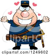 Clipart Of A Loving Chubby Civil War Union Soldier Man Wanting A Hug Royalty Free Vector Illustration by Cory Thoman
