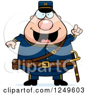 Clipart Of A Smart Chubby Civil War Union Soldier Man With An Idea Royalty Free Vector Illustration by Cory Thoman
