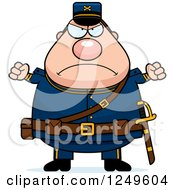 Clipart Of A Mad Chubby Civil War Union Soldier Man With Balled Fists Royalty Free Vector Illustration by Cory Thoman