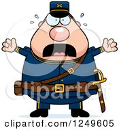 Clipart Of A Scared Screaming Chubby Civil War Union Soldier Man Royalty Free Vector Illustration