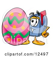Clipart Picture Of A Blue Postal Mailbox Cartoon Character Standing Beside An Easter Egg by Toons4Biz