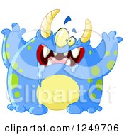 Clipart Of A Blue Spotted Monster Drooling And Holding His Arms Up Royalty Free Vector Illustration by yayayoyo