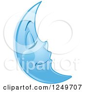 Clipart Of A Peaceful Sleeping Blue Crescent Moon Royalty Free Vector Illustration