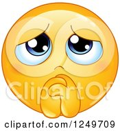 Clipart Of A Yellow Emoticon Smiley Begging And Pleading Royalty Free Vector Illustration