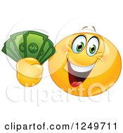 Clipart Of A Yellow Emoticon Smiley Holding Up Cash Money Royalty Free Vector Illustration