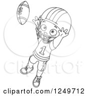Clipart Of A Black And White Little Boy Catching A Football Royalty Free Vector Illustration