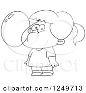 Clipart Of A Black And White Little Girl Blowing A Bubble With Gum Royalty Free Vector Illustration