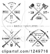 Vintage Arrow Axe And Sword Label Designs With Sample Text