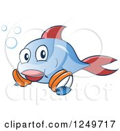 Cute Blue And Red Fish Leanring To Swim With Arm Floaties