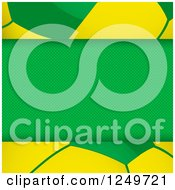 Clipart Of A Brazilian Themed Green Panel Over A Football Soccer Ball Royalty Free Vector Illustration