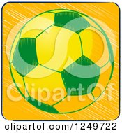 Clipart Of A Sketched Brazilian Themed Football Soccer Ball Royalty Free Vector Illustration