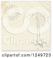 Clipart Of A Sketched Palm Tree Starfish And Sun On A Piece Of Paper Royalty Free Vector Illustration