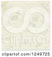 Clipart Of A Piece Of Ruled Paper With Doodled Sea Life Royalty Free Vector Illustration by elaineitalia