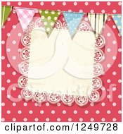 Clipart Of A Pink Polka Dot Background With Party Flags And A Lace Doily Royalty Free Vector Illustration