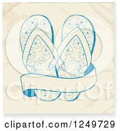 Clipart Of Sketced Blue Flip Flops And A Banner On Wrinkled Paper Royalty Free Vector Illustration by elaineitalia