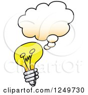 Clipart Of A Cartoon Thinking Light Bulb Royalty Free Vector Illustration by Zooco