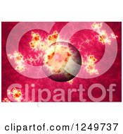 Clipart Of A 3d Pink Mandelbrot Fractal And Globe Royalty Free Illustration