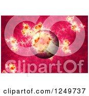 3d Pink Mandelbrot Fractal And Globe