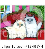 Canvas Painting Of Cute Alert Himalayan Cats On A Sofa