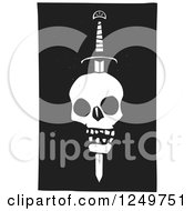 Poster, Art Print Of Black And White Woodcut Human Skull Impaled With A Sword