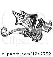 Clipart Of A Black And White Woodcut Flying Dragon Royalty Free Vector Illustration