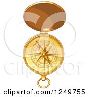 Clipart Of A Golden Open Pocket Compass Royalty Free Vector Illustration