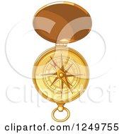 Golden Open Pocket Compass