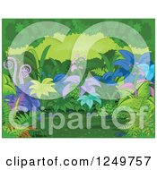 Clipart Of A Background Of Exotic Plants In A Forest With A Green Border Royalty Free Vector Illustration