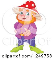 Happy Red Haired Male Gnome With A Mushroom Hat