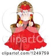 Clipart Of A Mean Queen Of Hearts Sitting On A Throne Royalty Free Vector Illustration by Pushkin
