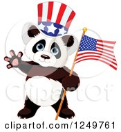 Clipart Of A Cute Patriotic Panda With An American Flag And Top Hat Royalty Free Vector Illustration