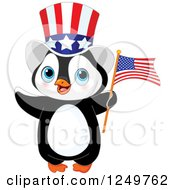 Clipart Of A Cute Patriotic Penguin With An American Flag And Top Hat Royalty Free Vector Illustration