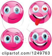 Clipart Of Four Pink Emoticon Smileys Royalty Free Vector Illustration