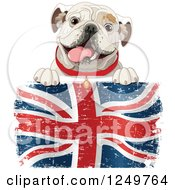 Clipart Of A Cute Bulldog Panting Over A Distressed British Flag Royalty Free Vector Illustration