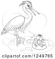 Clipart Of A Black And White Wading Heron Bird Talking To A Frog On A Lily Pad Royalty Free Vector Illustration by Alex Bannykh