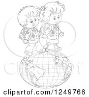 Clipart Of Black And White School Children Walking On A Globe Royalty Free Vector Illustration by Alex Bannykh