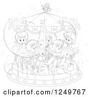 Clipart Of Black And White Children Riding Animals On A Carousel Royalty Free Vector Illustration by Alex Bannykh