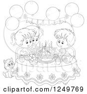 Clipart Of Black And White Children And A Cat Celebrating A Birthday Royalty Free Vector Illustration