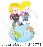 Blond Caucasian School Children Walking On A Globe