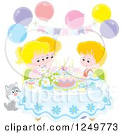Clipart Of Blond Caucasian Children And A Cat Celebrating A Birthday Royalty Free Vector Illustration