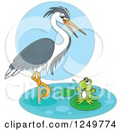 Clipart Of A Wading Heron Bird Talking To A Happy Frog On A Lily Pad Royalty Free Vector Illustration