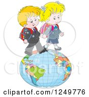 Clipart Of Blond School Children Walking On A Globe Royalty Free Vector Illustration