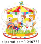 Clipart Of Caucasian Children Riding Animals On A Carousel Royalty Free Vector Illustration