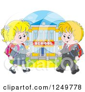 Clipart Of Blond School Children Walking To A Building Royalty Free Vector Illustration