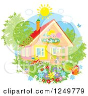 Clipart Of A Cat Playing In A Yard And Happy Blond Girl At A Window On A Summer Day Royalty Free Vector Illustration