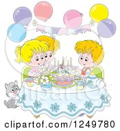 Clipart Of Blond Children And A Cat Celebrating A Birthday Royalty Free Vector Illustration by Alex Bannykh