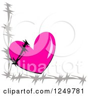 Clipart Of A Pink Heart And Barbed Wire Border Royalty Free Vector Illustration by bpearth